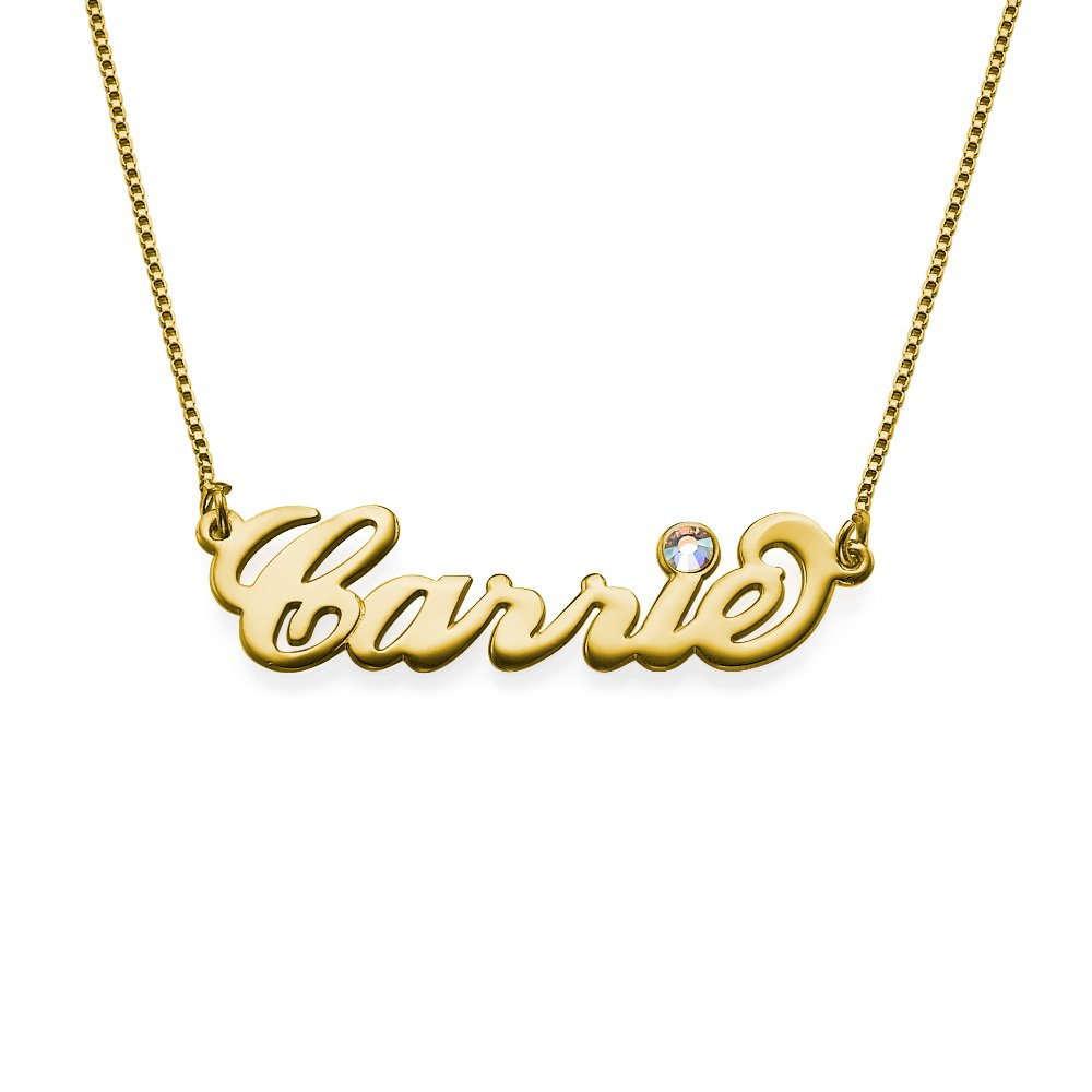18ct Gold-Plated Swarovski Name Necklace - Personalise with Any Name! Custom Personalised Jewellery 110-01-235-08-14