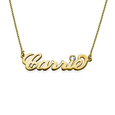 639d7b507e8335 18k Gold Plated Name Necklace with Swarovski - Custom Made with Any Name!  (14