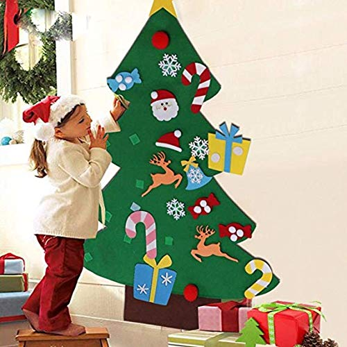 IFLOVE DIY Felt Christmas Tree Set 26pcs Detachable Ornaments Xmas Gift Door Wall Hanging Decoration One Size Green