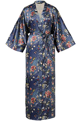"""BABEYOND Floral Kimono Robe Satin Silk Wedding Robe 1920s Kimono Nightgown Sleepwear 53"""" Long (Tamiko-Purple Blue)"""
