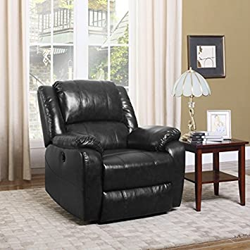 DIVANO ROMA FURNITURE Plush Bonded Leather Power Electric Recliner Living Room Chair Black