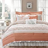 Madison Park Dawn 9 Piece Comforter Set, Coral, Queen