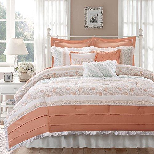 Madison Park Dawn 9 Piece Comforter Set, Coral, Queen (Bedding Coral Set)