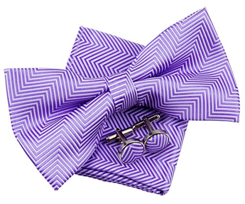 Herringbone Bow - Retreez Herringbone Stripe Woven Pre-tied Bow Tie (5