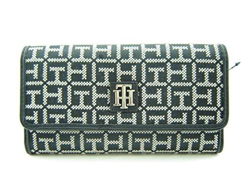 Women's Wallet Clutch Hilfiger Bag Black White Logo Tommy H4wnEqtxF1