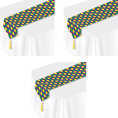 Beistle S50558AZ3, 3 Piece Mardi Gras Table Runners, 11