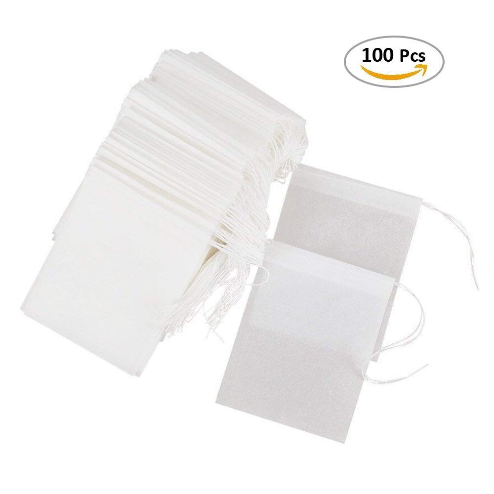 Besego Disposable Drawstring Tea Filter Bags, Empty Natural Material Tea Infuser Bag for Herb& Tea Loose Leaf Pack of 100 SYNCHKG116268