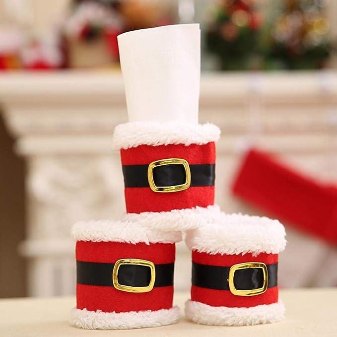 Lxj Suministros de decoración de la Navidad de anillo de toalla de Navidad servilleta de ropa de Navidad cena de Navidad de anillo: Amazon.es: Hogar