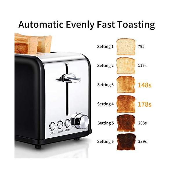 Tostapane 2 Fette, Tostapane per Toast 6 Livelli di Tostatura morpilot Tostapane Funcioni di Automatico Riscaldamento… 2