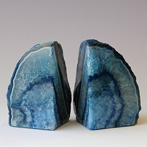 Large Product Image of JIC Gem: Polished Dyed Blue Agate Bookend(s) - 1 Pair - 2 to 3 Lbs