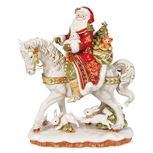 Fitz and Floyd Damask Holiday Santa on Horse Figurine, 16-Inch, Red