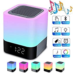 Night Lights Bluetooth Speaker,Howap Alarm Clock Wireless Bluetooth Speakers,Touch Sensor Bedside Lamp,Color Changing Night Lights for Kids,MP3 Music Player, Speakerphone/TF Card/AUX-in Supported