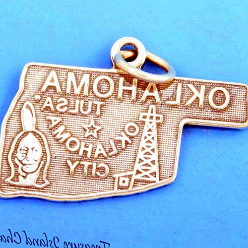 Lot of 1 Pc. Oklahoma State Map Tulsa .925 Sterling Silver Charm Pendant Vintage Crafting Pendant Jewelry Making Supplies - DIY for Necklace Bracelet Accessories by CharmingSS -