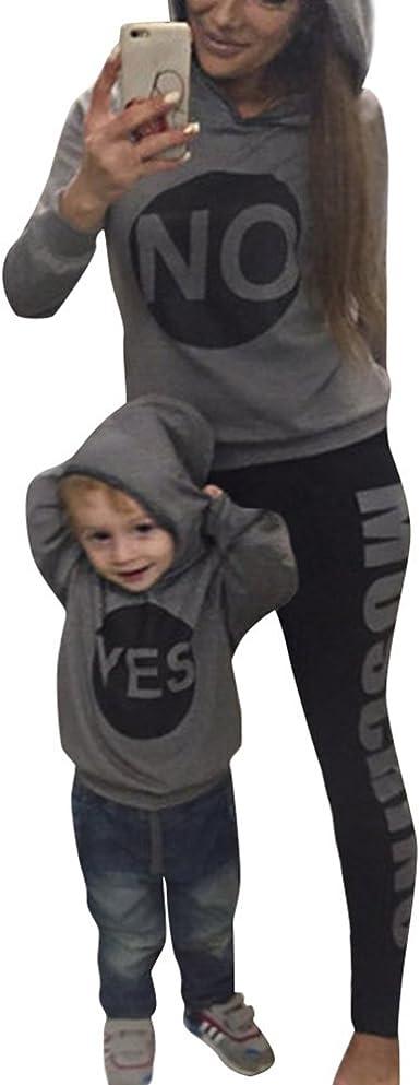 Minetom Maman Bébé Enfant Yes NO Lettre Imprimé Sweat à