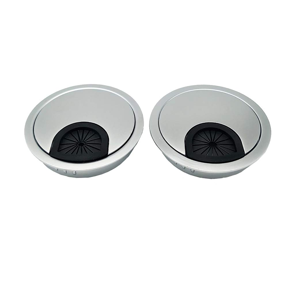 Qrity 2X Metal Round Computer Desk Grommet Cable Hole Covers for Management of Office & Computer Desk, Hole Dia 60mm