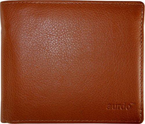 AurDo RFID Blocking Extra Capacity Multi Card Trifold Bifold Mens Wallet With ID Window (Premium Nappa Cognac)
