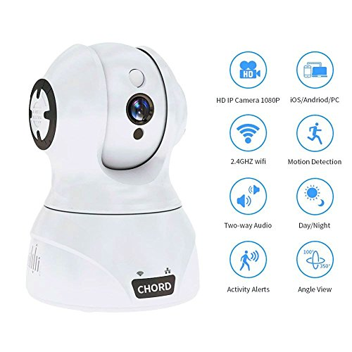 Home Camera 1080P, Wi-Fi IP Security Surveillance System with Night Vision for Home, Office, Shop, Baby, Pet Monitor with iOS, Android, PC App, for Indoor Use, White