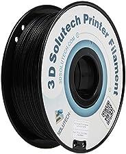 3D Solutech Real Black 3D Printer PLA Filament 1.75MM Filament, Dimensional Accuracy +/- 0.03 mm, 2.2 LBS (1.0