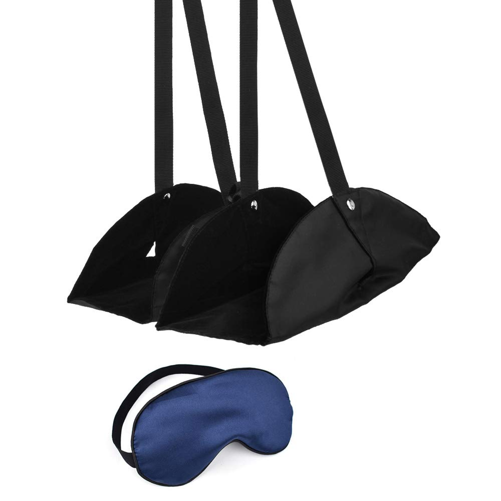 Slowton Travel Foot Rest and Sleep Mask Set, Portable Footrest Flight Relaxed and Comfortable Foot Rest Adjustable Height Office Hammock Super-Smooth Silk Sleep Eye Mask (Black)