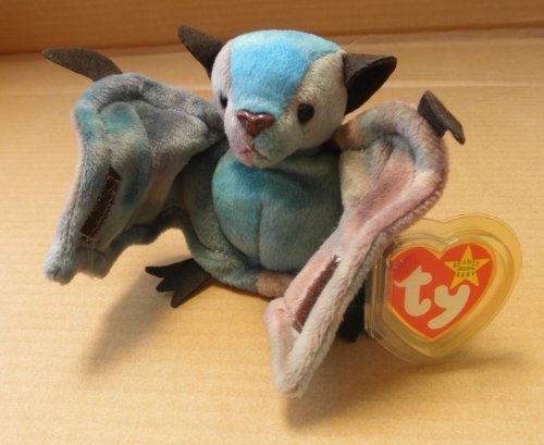TY Beanie Babies Batty the Bat Stuffed Animal Plush Toy - 4 1/2 inches tall - Brown/Blue
