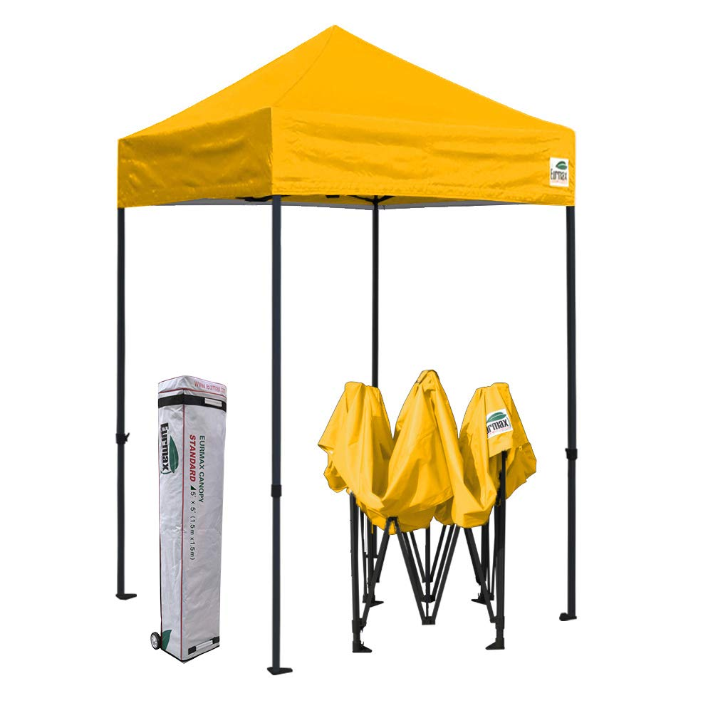 Eurmax 5x5 Ez Pop up Canopy Outdoor Heavy Duty Instant Tent Pop-up Canopies Sun Shelter with Deluxe Wheeled Carry Bag (Gold)