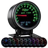 GlowShift 3in1 Analog 1500 F Pyrometer Exhaust Gas Temp EGT Gauge Kit with Digital 60 PSI Boost & 150 PSI Pressure Readings - 10 Selectable LED Colors - Black Dial - Clear Lens - 2-3/8'' 60mm