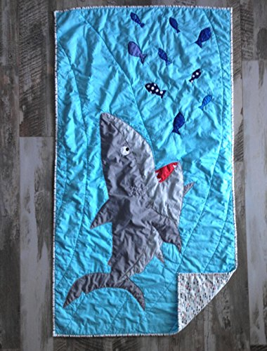 Baby boy quilt , Shark blanket, Handmade quilt for sale, Nautical baby bedding, Shark baby blanket, Shark quilt, Blue and white quilt by Createdbymammy