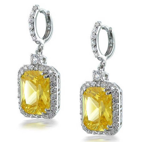 And Citrine Earrings Diamond (12 CTW Square Drop Earrings Simulated Citrine CZ Emerald Cut Halo Rhodium Plated Brass)