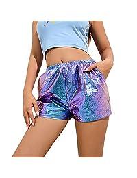 Alice_star Women High Waist Reflective Shorts Streetwear Hot Elastic Waist Shorts