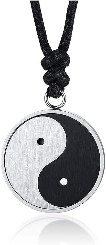 VNOX Chinese Philosophy Taoist Symbol Yin-Yang Taichi Yoga Stainless Steel Rhinestone Pendant Necklace