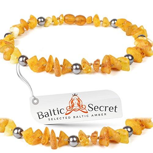 Dog Collar Medium / Raw Baltic Amber Gems/36pGREY by Baltic Secret