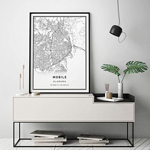 MalertaART Mobile map Print Scandinavian Wall Art Poster City maps Artwork Alabama Gifts Map Decor M125 Framed Wall Art