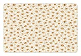 Ambesonne Ivory Pet Mat for Food and Water, Romantic Rose Petal Florets Bouquet Feminine Blooms Beauty Ornate Illustration, Rectangle Non-Slip Rubber Mat for Dogs and Cats, Cream Cinnamon