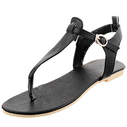 TAOFFEN Mujer Moda Clip Toe Open Back Sandalias T-strap Plano Al Tobillo Zapatos 771 Negro