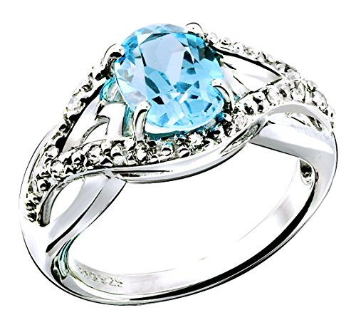 Oval Gemstone Stackable Ring - RB Gems Sterling Silver 925 Ring GENUINE GEMSTONE Oval 8x6 mm with Rhodium-Plated Finish, SOLITAIRE Style (9, blue-topaz)