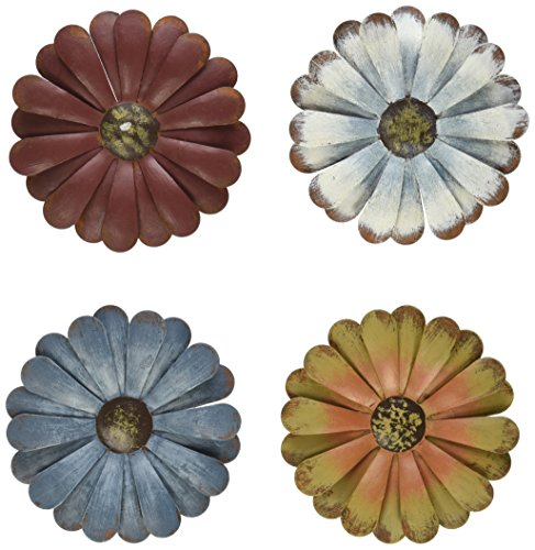 Craft Outlet Tin Daisy Flower Magnet, 4-Inch, Set of 4