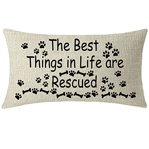 Nice Gift Sweet Warm Words The Best Things In Life Are Rescued Paw Prints Bone Beige Waist Lumbar Cotton Linen Cushion Cover Pillow Case Cover