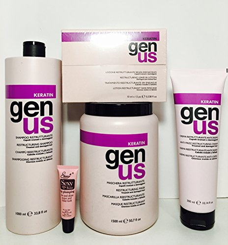 Genus Keratin Restructuring Shampoo 33.8 Oz, Restructuring Mask 50.07 Oz, Restructuring Leave-in Lotion 12x10 Ml Phials and Anti Frizz Restructuring Cream 10.14 Oz ''Free Starry Lipgloss 10 Ml'' by Genus