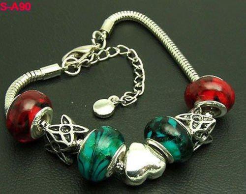 ERAWAN 1pcs handmade lampwork glass & metal beaded European charm bracelet S-A90 EW