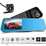 SQDeal Car Video Recorder Full HD 1080P | Car Video Camera with Dual Lens for Vehicles | Front & Rearview Mirror Car DVR Dash Cam with Reverse Parking System | Rear Cam with Night Vision & Waterproof
