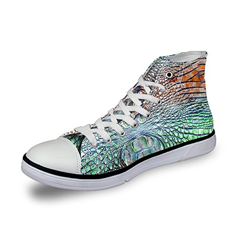 Up DESIGNS Green Sneaker Women U 1 FOR Stylish Lace High Print Snake for Skin Shoes Top Fashion Canvas qPOfx5a