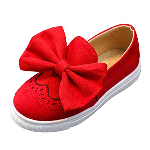 Igemy Baby Fashion Sneaker Kind Mädchen Bogen Beiläufige Einzelne Leder Pricness Schuhe Rot