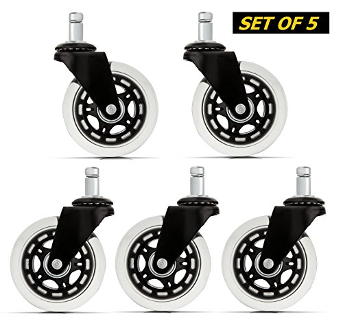 Office Chair Caster Wheels (Set of 5) - Heavy Duty & Safe for All Floors Including Hardwood - Perfect Replacement for Desk Floor Mat - Rollerblade Style w/ Universal Fit (Magnum Replacement Stem Standard)