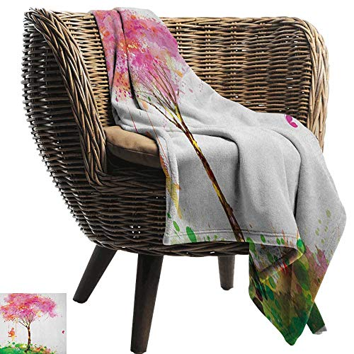 Living Room/Bedroom Warm Blanket Spring Spring Blossoming Tree and Dreaming Girl on Swing Chilhood Memories Watercolor Art Sofa Chair 60
