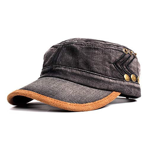 Vintage Washed Denim Cotton Peaked Baseball Cap Distressed Cadet Army Cap Millitary Corps Hat Cap Visor Flat Top Adjustable Baseball Hat Black