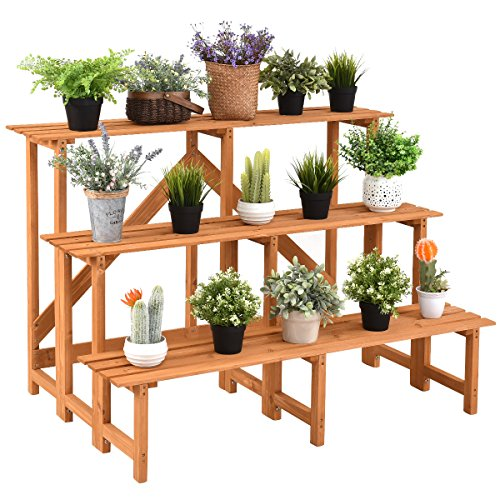 - Giantex 3-Tier Plant Stand Flower Pot Holder Wide Display Rack Stand with Step Design, Yellow