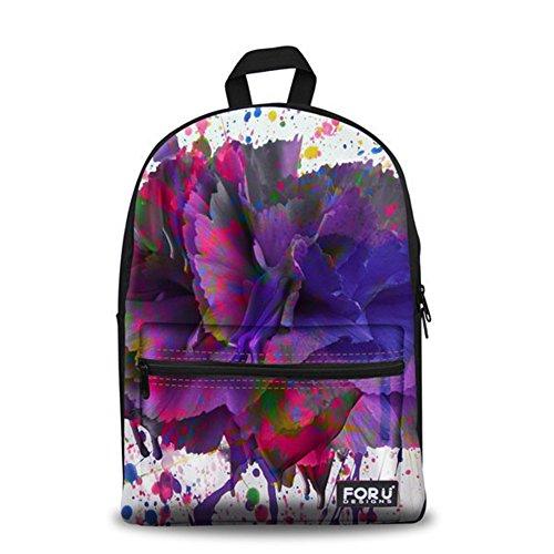 - HUGS IDEA Purple Flower Pattern Teenage Girls Laptop Backpack Studen School Bag