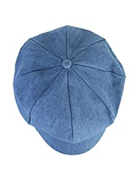 DDLBiz Fashion Women Beret Hat Joker Jean Blue Newsboy Pure Color Octagonal Cap