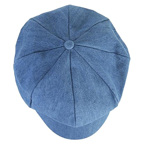 DDLBiz Fashion Women Beret Hat Joker Jean Blue Newsboy Pure Color Octagonal Cap (Blue)