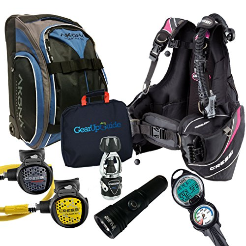 Cressi Travelight 15 LBS Scuba Diving Package Carry On Reg Dive Computer 6 Pink-Reg-Bag Lady-S